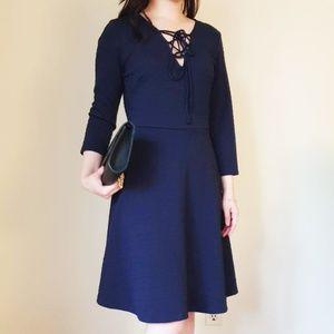 Navy blue V-Neck Lace up Dress